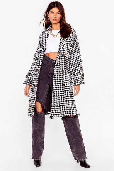 Black Finally Houndstooth You Belted Longline Coat
