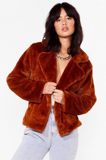 Terracotta Keep in Touch Belted Faux Fur Jacket