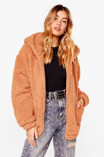 Camel Teddy or Not Faux Fur Oversized Jacket