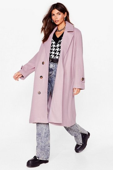 Mauve Got It Covered Faux Wool Longline Coat