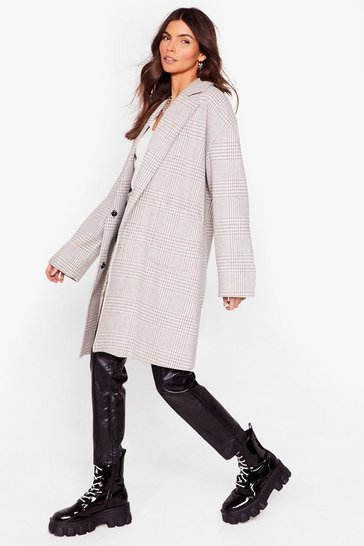 Grey Totally Checked Out Longline Coat