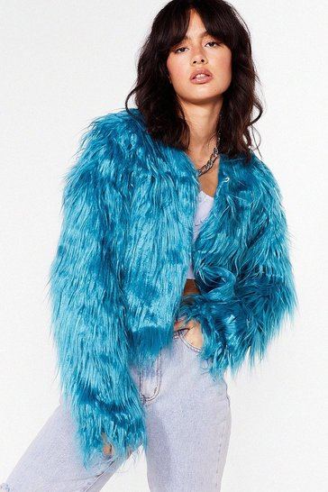 Teal Why So Touchy Shaggy Faux Fur Jacket