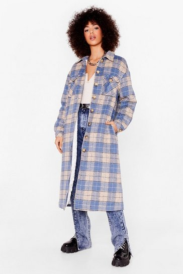 Blue CHECKED QUILT LINED MAXI SHACKET