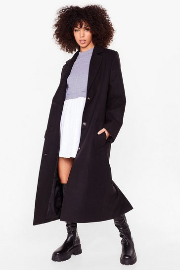 Black Longline Faux Wool Shoulder Pad Coat