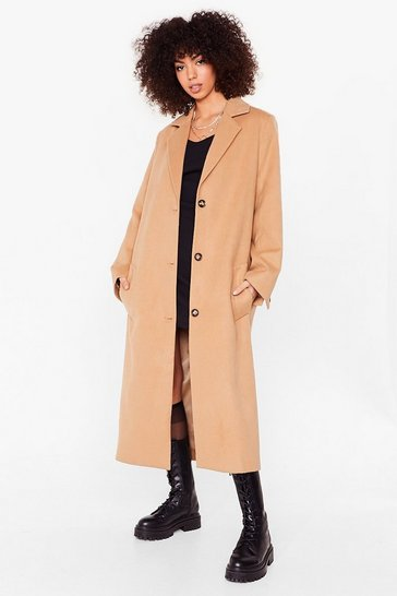 Camel I Wool Be Waitin' Faux Wool Longline Coat