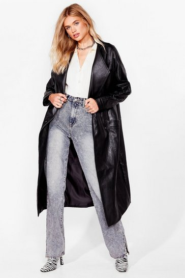 Black Faux Leather Mind Oversized Coat