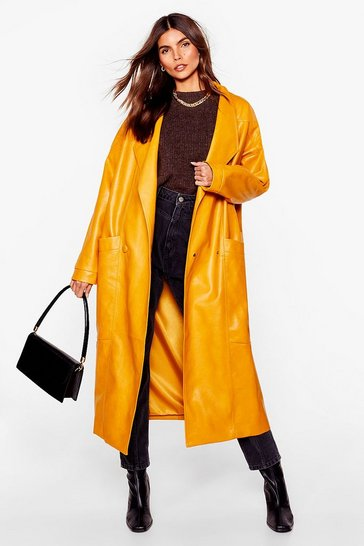 Mustard Faux Leather Mind Oversized Coat