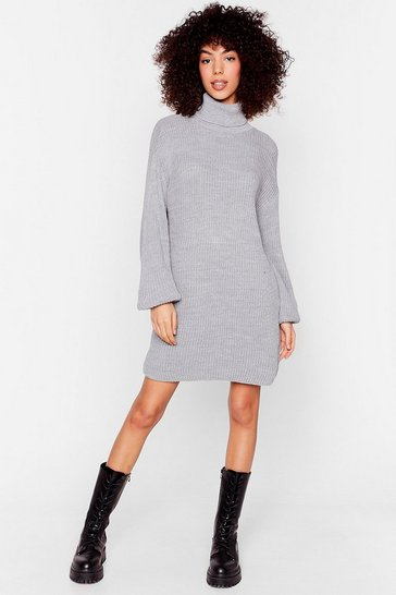 Grey Ribbed Knit Turtleneck Jumper Dress