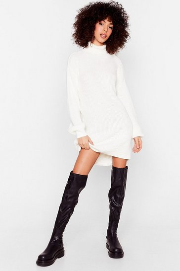 Ivory Ribbed Knit Turtleneck Sweater Dress
