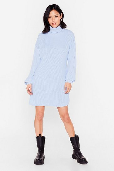 Light blue Ribbed Knit Turtleneck Sweater Dress