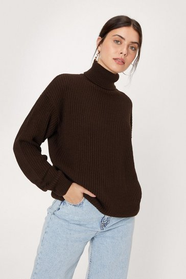 Chocolate Rollin' With It Ribbed Knit Sweater