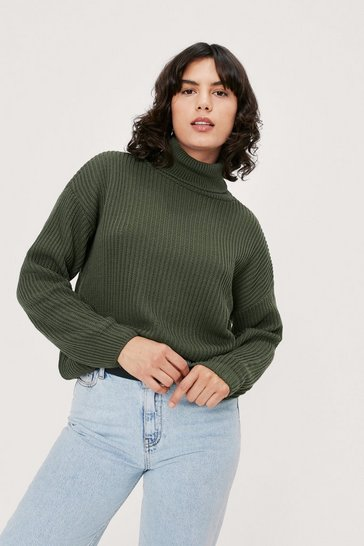 Green Rollin' With It Ribbed Knit Sweater