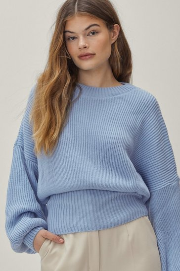 Blue Rib Takes Time Knitted Balloon Sleeve Sweater