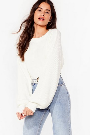 Cream Rib Takes Time Knitted Balloon Sleeve Sweater