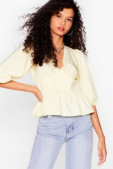 Lemon Tie Your Best Open Back Ruffle Blouse