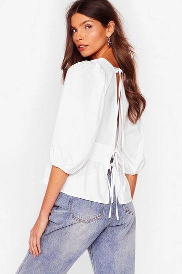 White Tie Your Best Open Back Ruffle Blouse