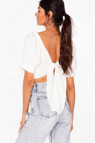 White Wrap That Cropped Puff Sleeve Blouse