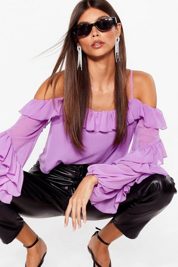 Purple Sparks Frill Fly Chiffon Cold Shoulder Blouse