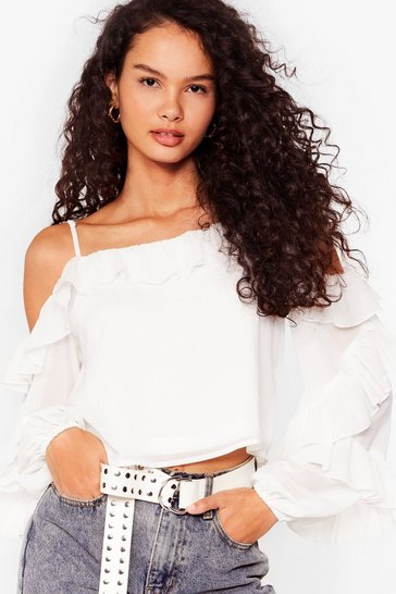 White Sparks Frill Fly Chiffon Cold Shoulder Blouse