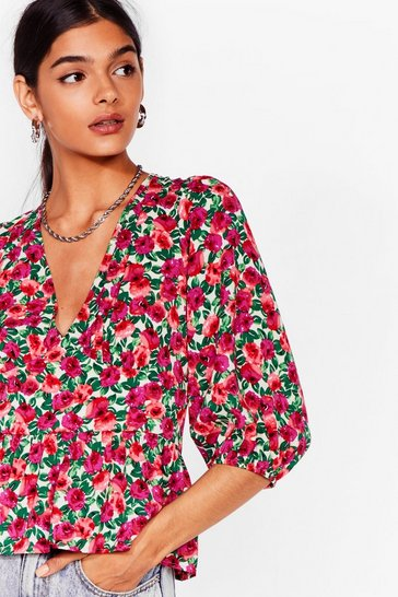 Purple Growing Me You Growing You Floral Relaxed Blouse
