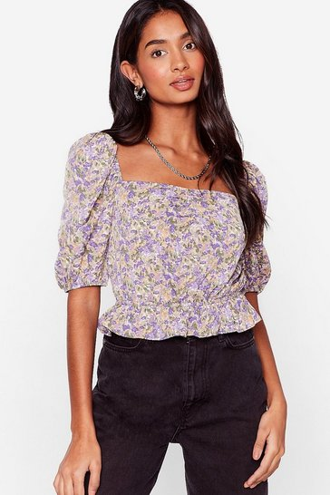 Purple Take Bud Care Floral Puff Sleeve Blouse