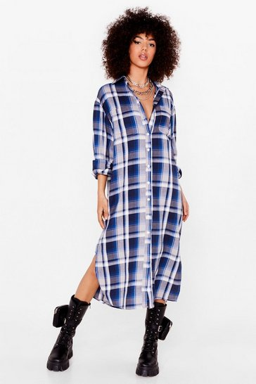 Blue Check Midi Shirt Dress
