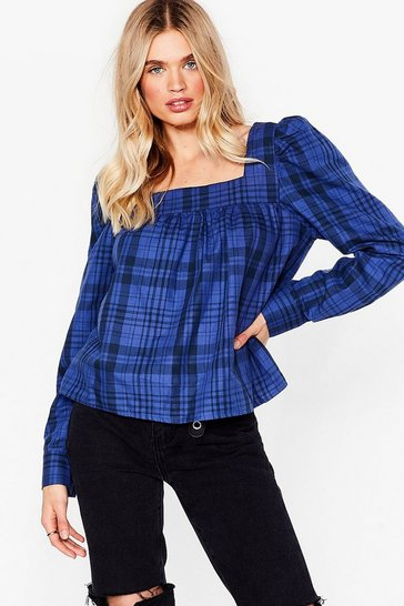 Cobalt Check Your Facts Square Neck Relaxed Blouse