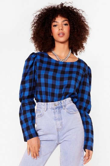 Cobalt Check the Party Gingham Puff Sleeve Blouse