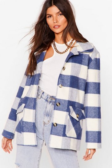 Indigo Checkin' in Faux Wool Shirt Jacket