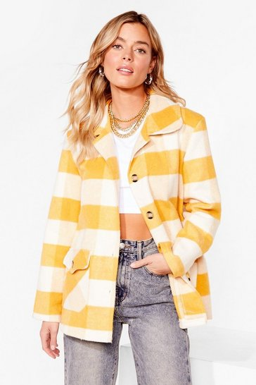 Mustard Checkin' in Faux Wool Button-Down Jacket