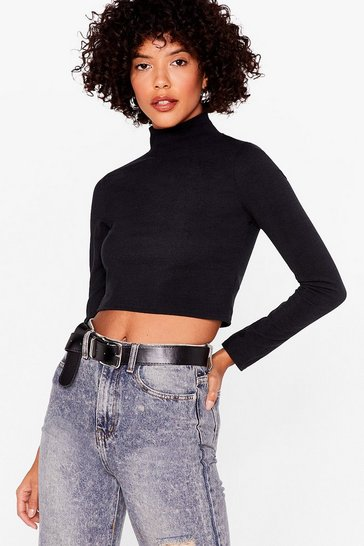 Black Let's Rock and Roll Neck Crop Top