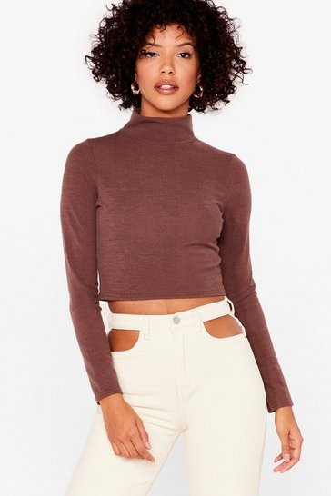 Chocolate Let's Rock and Roll Neck Crop Top