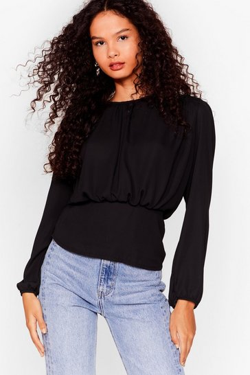 Black Never Sleeve Me Relaxed Blouse