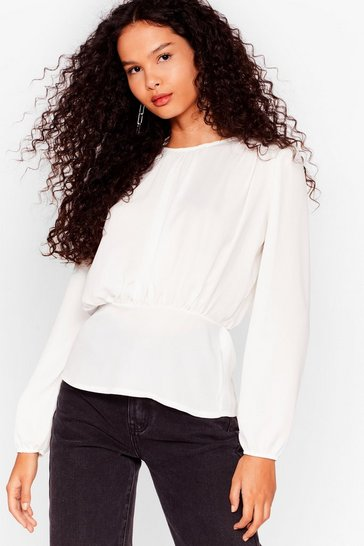 Ivory Never Sleeve Me Relaxed Blouse