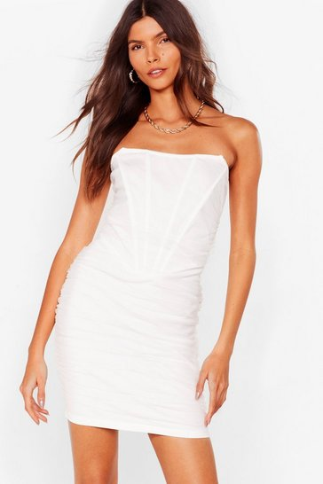 White Mesh One Yet Mini Bodycon Dress