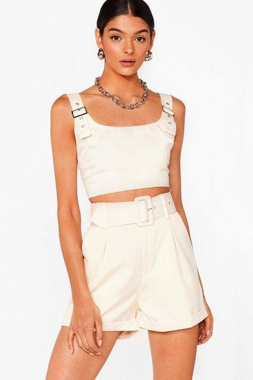 Stone Bad Buckle Babe Crop Top and Shorts Set