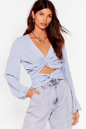 Blue Cut-Out of It Twist Open Back Blouse