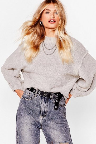 Taupe Seam Knit All Before Balloon Sleeve Sweater