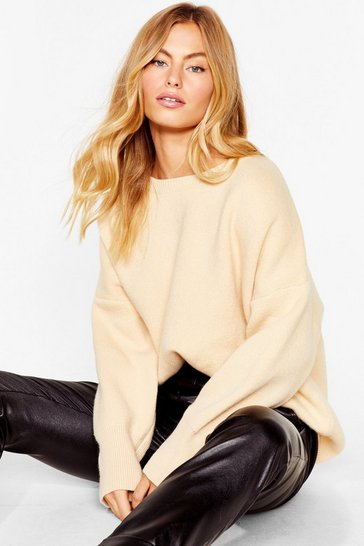 Oatmeal Summer's Oversized Knit Sweater