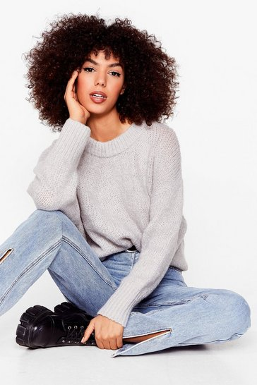 Light grey Knit the Big Time Crew Neck Sweater
