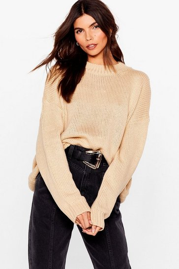 Oatmeal Drop Knit Low Relaxed Sweater