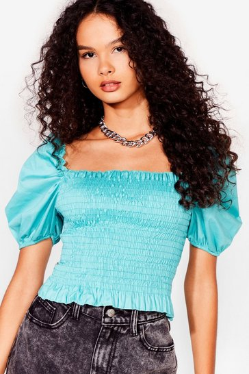 Sage Puff Love Shirred Cropped Blouse