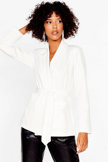 Ivory Play It Smart Longline Belted Blazer