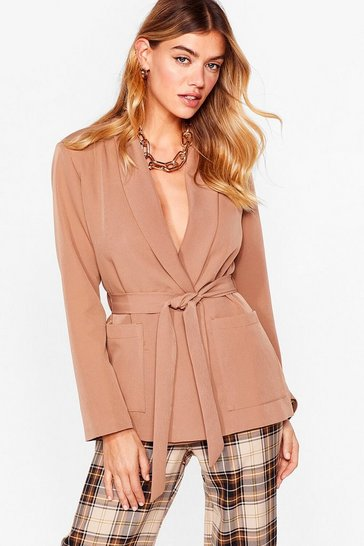 Tan Play It Smart Longline Belted Blazer