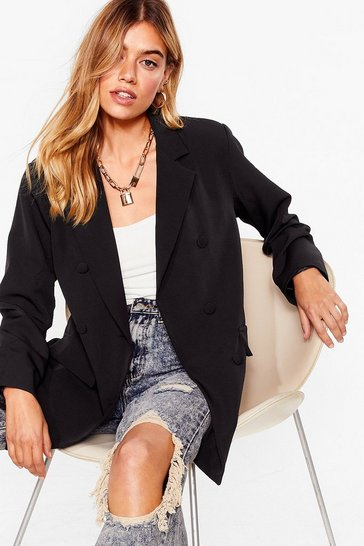 Black Double Breasted Buttoned Longline Blazer