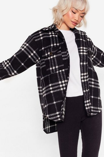 Black Plaid Influence Oversized Shirt Jacket