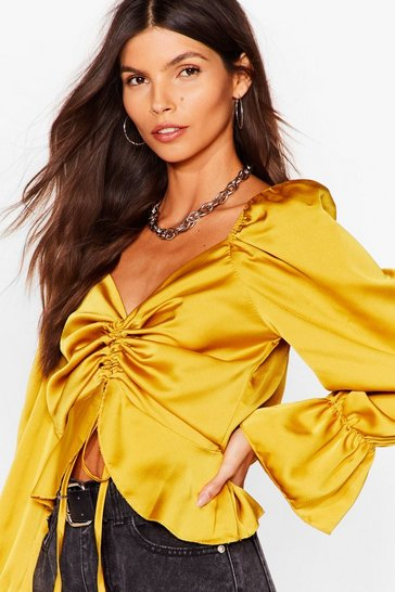 Chartreuse We're Not Ruching Satin Cropped Blouse