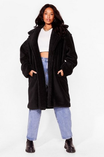 Camel We're Teddy Faux Fur You Plus Oversized Coat