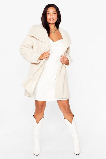 Stone We're Teddy Faux Fur You Plus Oversized Coat