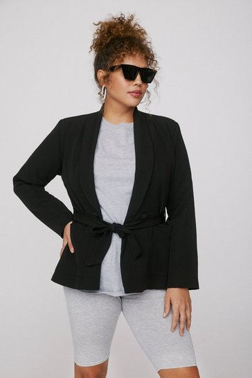Black Play It Smart Plus Belted Blazer